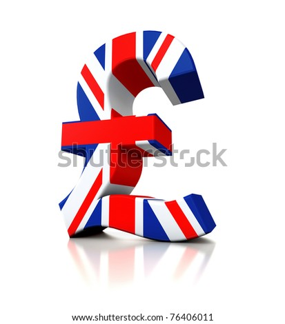 3d Pound in flag colors isolated on white background - stock photo