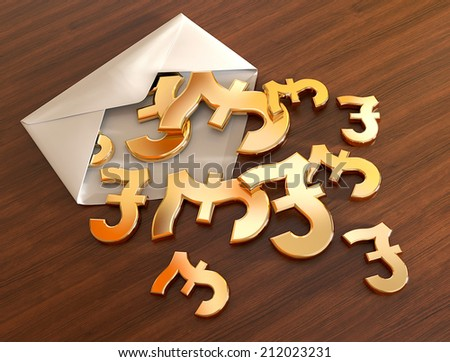 3d pound signs in envelope. - stock photo