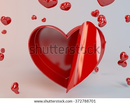 3d present box and hearts particles in a white 3d stage  - stock photo