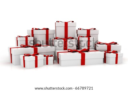 3d present boxes, on white background - stock photo