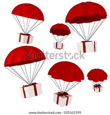 3d presents and parachute falling from the sky - stock photo