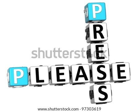 3D Press Please Crossword over white background
