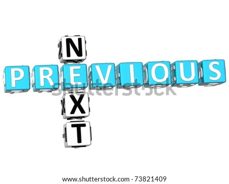 3D Previous Next Crossword on white background