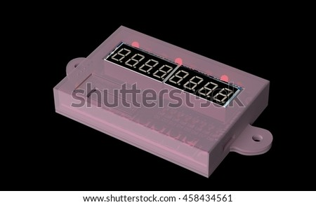 3d printed case for electronic device, 3d illustration - stock photo
