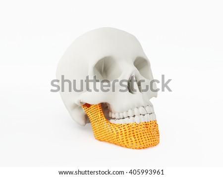 3d printed jaw bone - stock photo