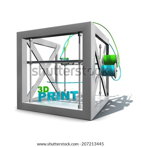 3D printer. A three dimensonal printer printing 3d text. Two colours have been used; green and blue. The object is isolated against a white background. - stock photo