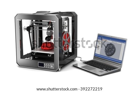 3d printer and laptop. Isolated on white. 3d illustration