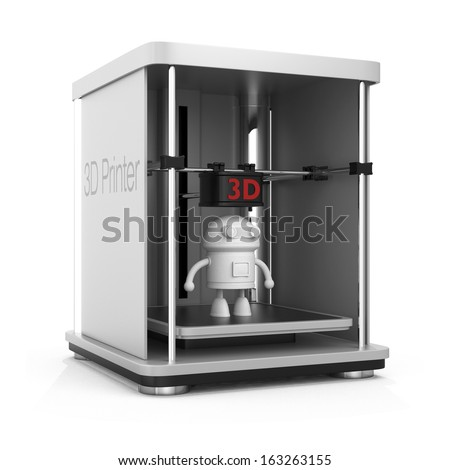3D printer and printed model. clipping path available. - stock photo