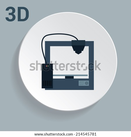 3d printer icon with simple design illustration - stock photo