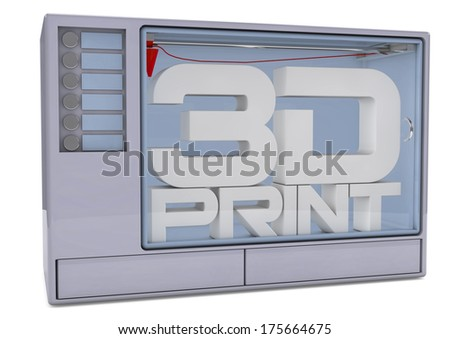 3D printer isolated on a white background. 3D rendered