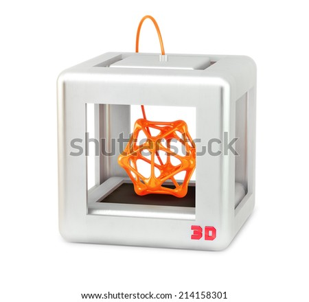 3D printer isolated on white - stock photo