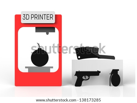 3D printer misused to create harmful products such as a bomb and pistol. - stock photo