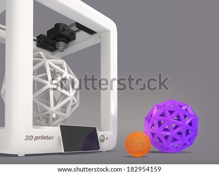3d printer with geometric object on a gray background  - stock photo