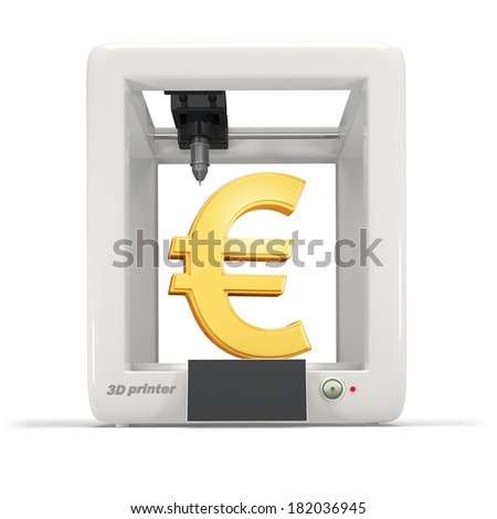 3d printer with golden euro sign isolated on a white background