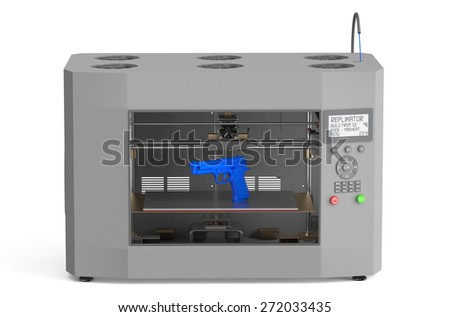 3d printer with  gun  isolated on white background - stock photo