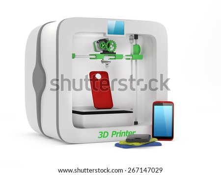 3D printer with used smartphone cover isolated on white background - stock photo