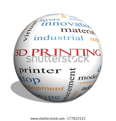 3D Printing 3D sphere Word Cloud Concept with great terms such as digital, layers, model and more.
