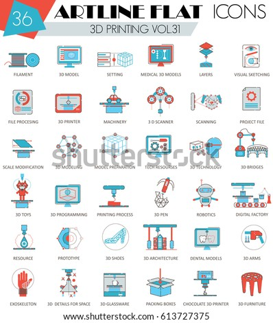 Vector 3d Printing Flat Icon Set 437488417