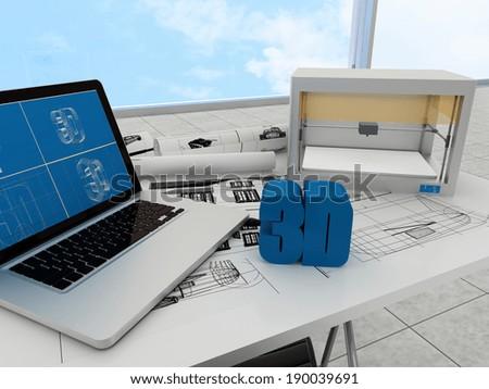 3d printing technology - stock photo