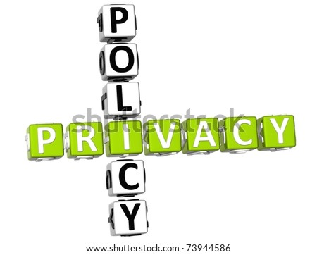 3D Privacy Policy Crossword on white background - stock photo