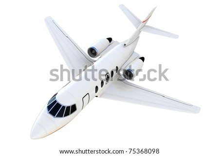 3d private plane isolated on white background - stock photo