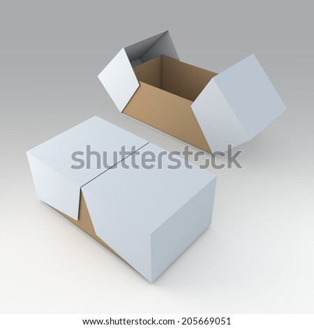 3D products packaging container box and open by swing lids option in isolated background with work paths, clipping paths included - stock photo