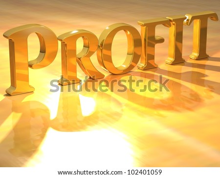 3D Profit Gold text over yellow background - stock photo