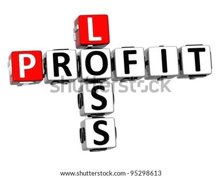 3D Profit Loss Crossword on white background - stock photo