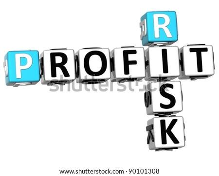 3D Profit Risk Crossword on white background - stock photo