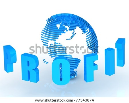 3d Profit text with abstract globe.