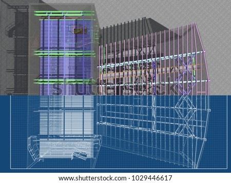 architectural engineering buildings. Perfect Architectural 3 D Project Reconstruction Construction Buildings Made Stock Illustration  1029446617  Shutterstock To Architectural Engineering