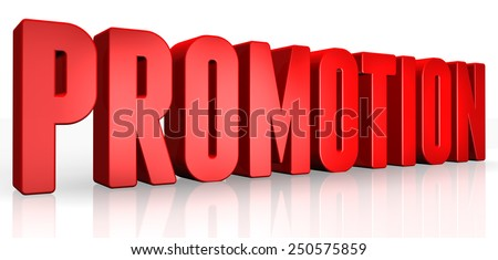 3D promotion text on white background - stock photo