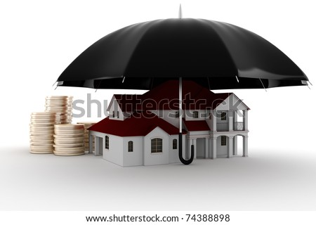 3d Property insurance concept - stock photo