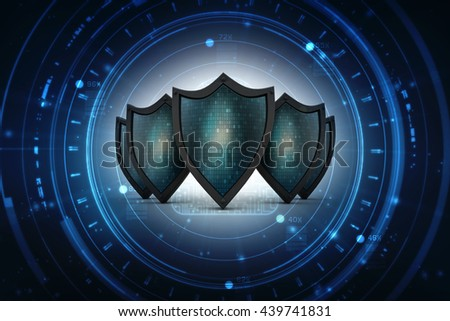 3d protection shield - stock photo