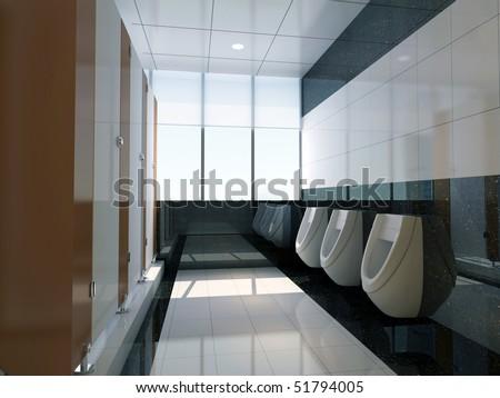 3d public bathroom - stock photo