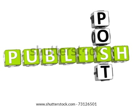 3D Publish Post Crossword on white background - stock photo