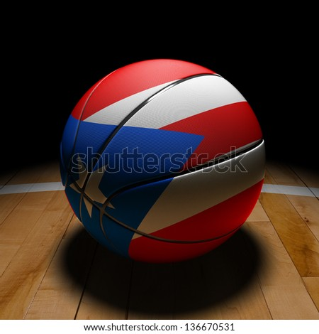 3D Puerto Rico basket ball with dramatic light on basketball court. - stock photo
