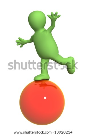 3d puppet, balancing on a red ball. Object over white - stock photo