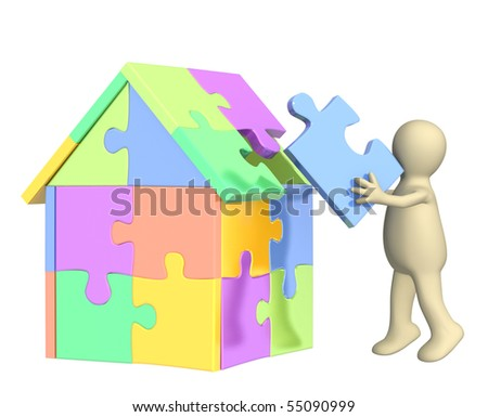 3d puppet, building the house. Over white - stock photo