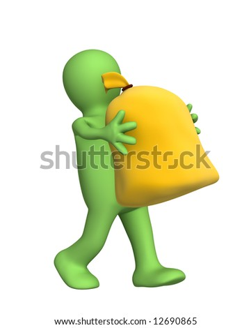 3d puppet, carrying in hands the big bag. Object over white - stock photo