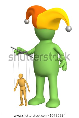 3d puppet-clown, managing a small doll - puppet. Objects over white - stock photo