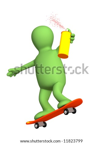 3d puppet, going for a drive on a skateboard. Objects over white - stock photo