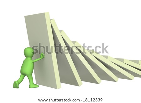 3d puppet, holding figures of a dominoes. Object over white - stock photo