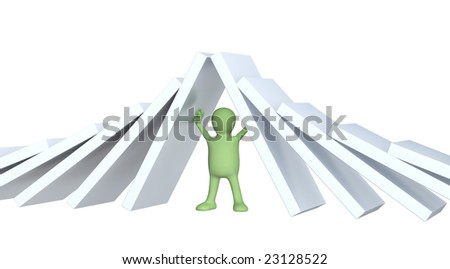 3d puppet, holding figures of a dominoes. Over white - stock photo
