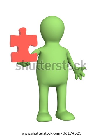 3d puppet, holding part of puzzle