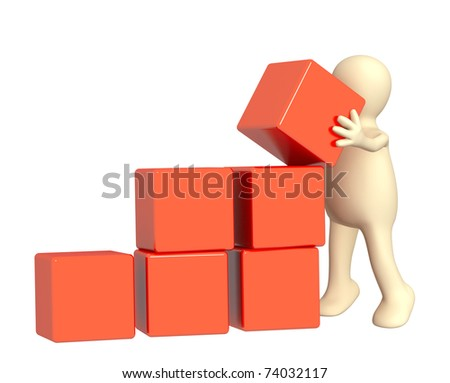 3d puppet, installing boxes of red color - stock photo