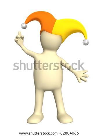 3d puppet - joker, in a hat with bells. Isolated over white - stock photo