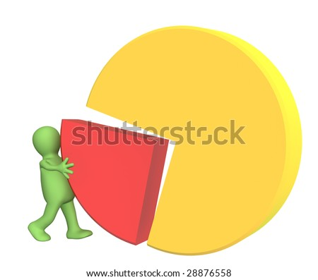 3d puppet, making the round diagram. Over white