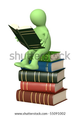 3d puppet, reading the book. Object over white - stock photo
