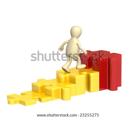 3d puppet, rising under diagram with puzzles - stock photo